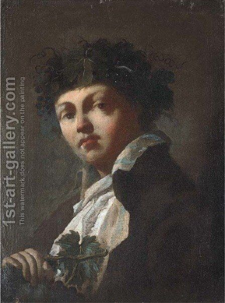 Portrait of a young man as Bacchus by Domenico Maggiotto - Reproduction Oil Painting