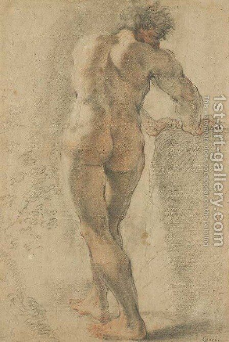 A standing nude, seen from behind, leaning on a block by Domenico Maria Canuti - Reproduction Oil Painting