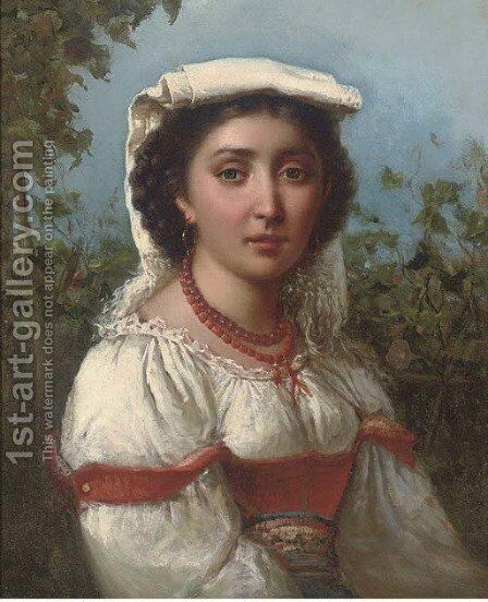 Portrait of a Neapolitan girl by Domenico Morelli - Reproduction Oil Painting