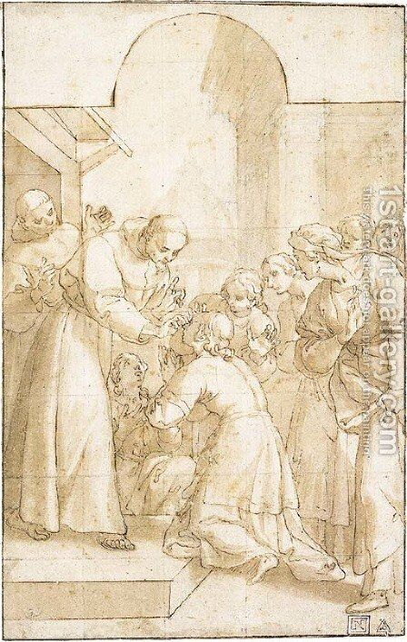 Saint Francis curing a blind woman by Domenico Peruzzini - Reproduction Oil Painting