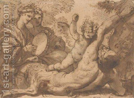 A putto striking a satyr bound to a tree, two women playing a tambourine on the left by Domenico Piola - Reproduction Oil Painting