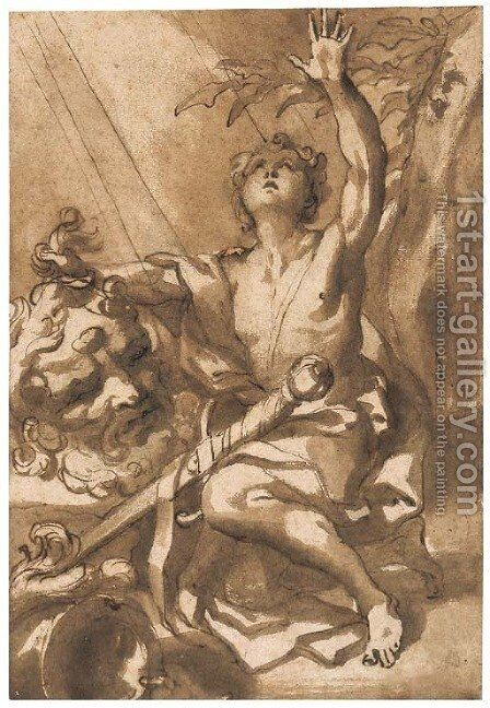 David with the head of Goliath by Domenico Piola - Reproduction Oil Painting
