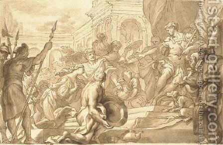 The Continence of Scipio by Domenico Piola - Reproduction Oil Painting