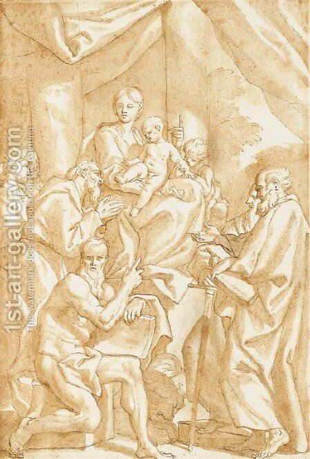 The Madonna and Child seated on a pedestal with the infant Baptist, Saint John, Saint Paul, Saint Jerome and Saint Francis by Domenico Piola - Reproduction Oil Painting