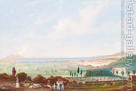 Figures on a track before the bay of Naples by Domenico II Quaglio - Reproduction Oil Painting
