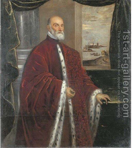 Portrait of a Venetian Senator, three-quarter-length, in robes of office, by a green curtain with a Venetian landscape beyond by Domenico Tintoretto (Robusti) - Reproduction Oil Painting