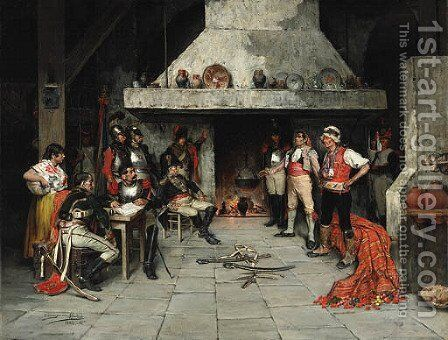 The interrogation by Domingo Munoz y Cuesta - Reproduction Oil Painting