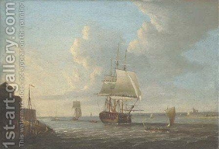 View of Portsmouth Harbour with a man-o'-war and other vessels by Dominic Serres - Reproduction Oil Painting