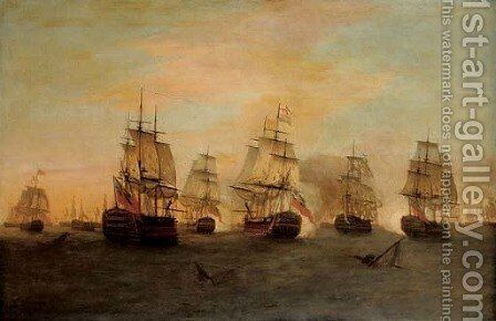 The Battle of the Saints, 12 April 1782 by Dominic Serres - Reproduction Oil Painting