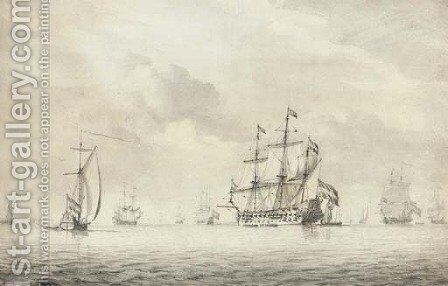 The Dutch flagship in her anchorage by Dominic Serres - Reproduction Oil Painting