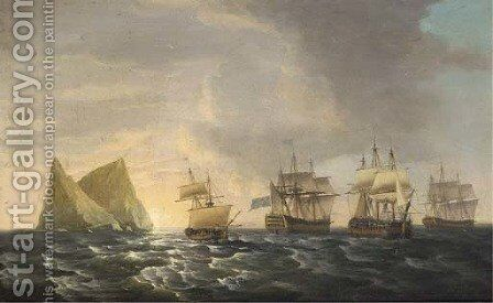 Admiral Pigot's return from the West Indies on board H.M.S. Formidable in the company of other Royal Naval warships including H.M.S. St. Albans and H. by Dominic Serres - Reproduction Oil Painting