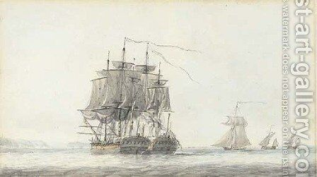 The action between H.M.S. Flora (36 guns) and the French frigate Nymphe (36 guns) off Ushant on 10th August, 1780 by Dominic Serres - Reproduction Oil Painting