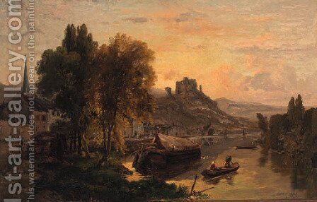 A river town with a castle beyond by Dominique Adolphe Grenet De Joigny - Reproduction Oil Painting