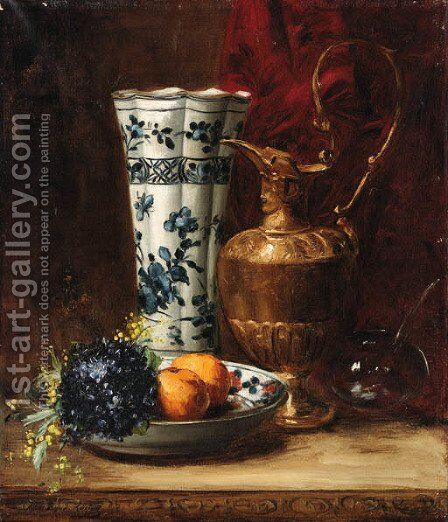 A bowl of oranges and violets with a ewer and a vase by Dominique-Hubert Rozier - Reproduction Oil Painting