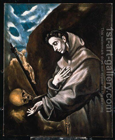 Saint Francis Standing in Meditation by El Greco - Reproduction Oil Painting