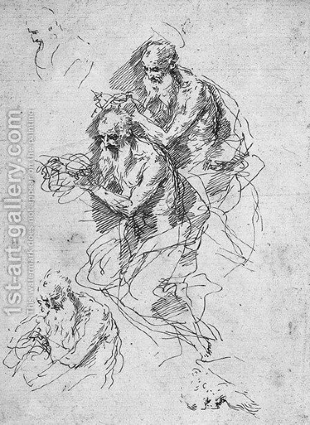 Three studies for a Saint Jerome, with two other heads by Donato Creti - Reproduction Oil Painting