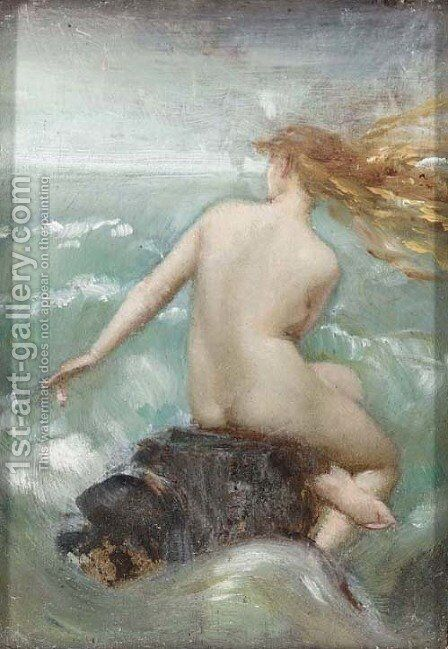 A female nude on a rocky coastline by Dorothy Tennant - Reproduction Oil Painting