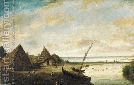 A coastal landscape with figures by huts, possibly south-east Asia by Dutch Colonial School - Reproduction Oil Painting