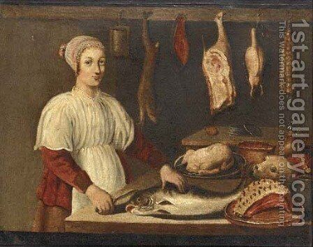 The kitchen maid by Dutch Provincial School - Reproduction Oil Painting