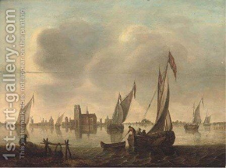 A windless day on the dyke by Dutch School - Reproduction Oil Painting