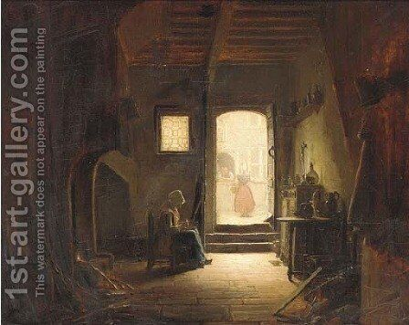 A young girl working in an interior by Dutch School - Reproduction Oil Painting