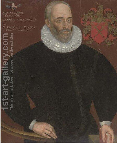 Portrait of a gentleman, half-length, aged 43 by Dutch School - Reproduction Oil Painting