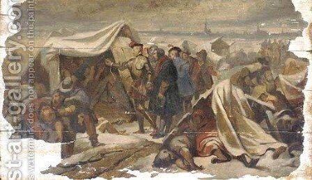 Envoys at a military encampment by Dutch School - Reproduction Oil Painting