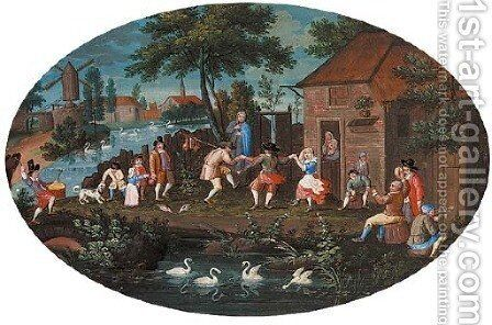 Figures carousing before an inn in a Dutch landscape by Dutch School - Reproduction Oil Painting