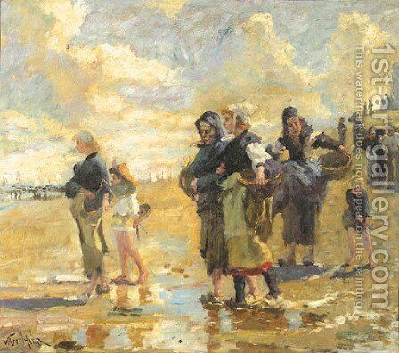 Fisherfolk on the beach by Dutch School - Reproduction Oil Painting