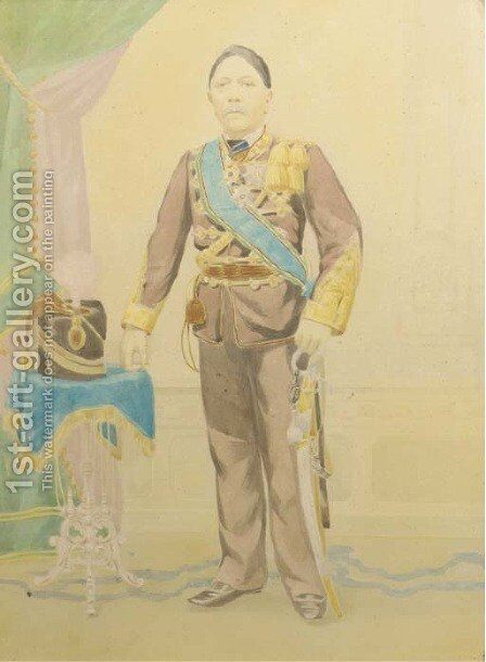 Portrait of an Indonesian man in uniform by Dutch School - Reproduction Oil Painting