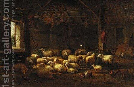 Sheep in a barn by Dutch School - Reproduction Oil Painting