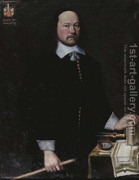 Portrait of a gentleman, said to be Arnoldus Franciscus van Breugel by Dutch School - Reproduction Oil Painting