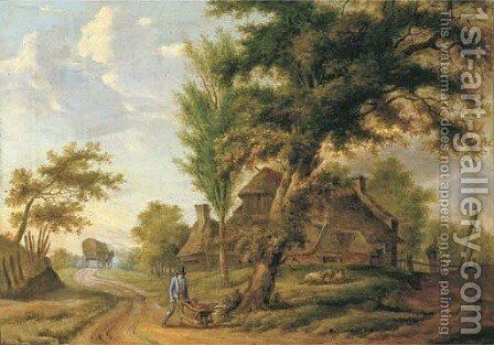 A landscape with a farm and a peasant pushing a wheelbarrow on a country road by Dutch School - Reproduction Oil Painting