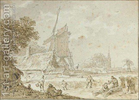 Landscape with farmers haying near a windmill and a farmhouse, a town beyond by Dutch School - Reproduction Oil Painting