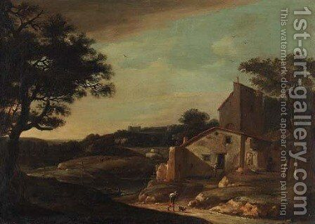 A landscape with a traveller on a path near a cottage by Dutch School - Reproduction Oil Painting