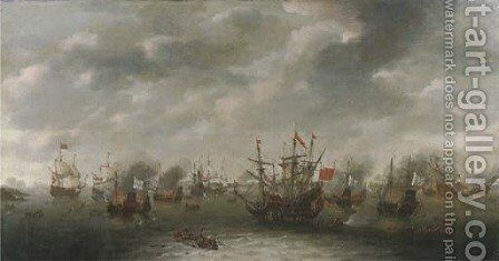 A naval battle, possibly the Battle of Leghorn by Dutch School - Reproduction Oil Painting