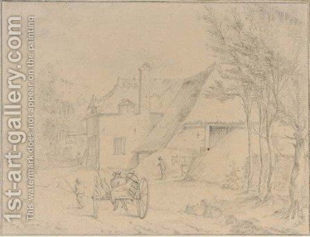 A village view with a peasant by a horse-drawn carriage by Dutch School - Reproduction Oil Painting