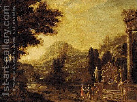 An Italianate landscape with figures and ruins by Dutch School - Reproduction Oil Painting