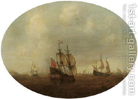Dutch men o' war in choppy waters, a fortified town and church in the distance by Dutch School - Reproduction Oil Painting