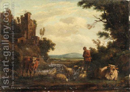 An Italianate river Landscape with a Drover by Dutch School - Reproduction Oil Painting