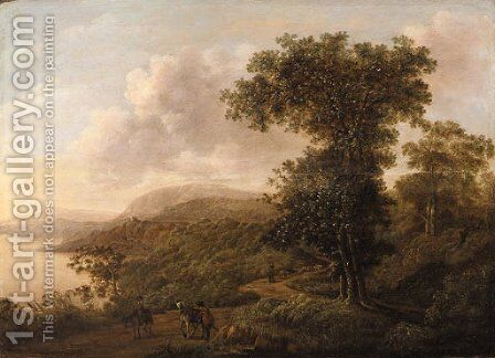 An extensive mountainous river Landscape with Horsemen and a Shepherd on a Track in the foreground by Dutch School - Reproduction Oil Painting