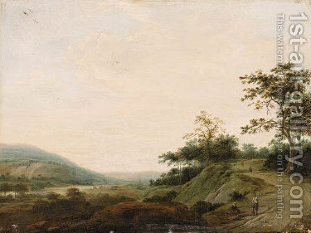 An extensive Landscape with Woodcutters in the foreground by Dutch School - Reproduction Oil Painting