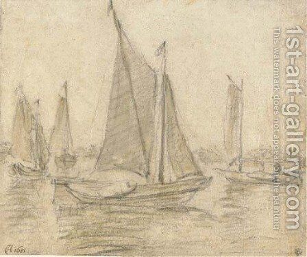 Four sailing boats on a broad river by Dutch School - Reproduction Oil Painting