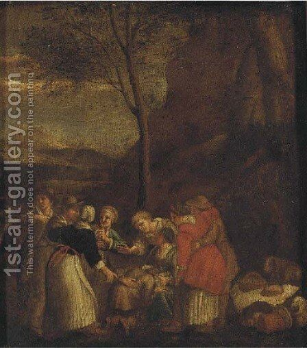 Peasants gathered in a landscape by Dutch School - Reproduction Oil Painting