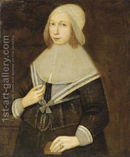 Portrait of a lady, half-length, a ring in her right hand and a book in her left hand by Dutch School - Reproduction Oil Painting