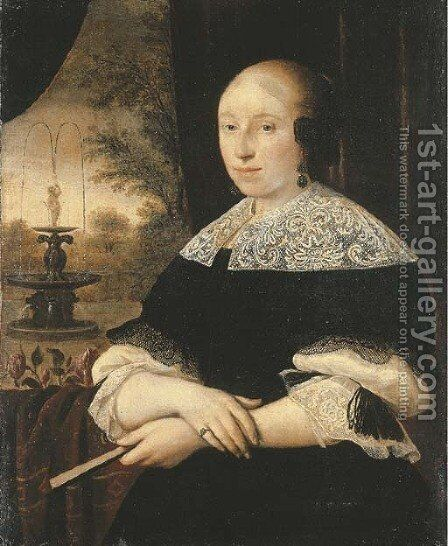 Portrait of a lady, half-length, in a black dress by Dutch School - Reproduction Oil Painting