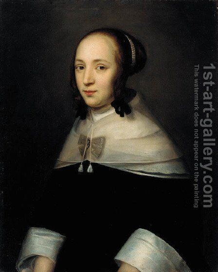 Portrait of a lady, half-length, in a black dress with white sleeves by Dutch School - Reproduction Oil Painting