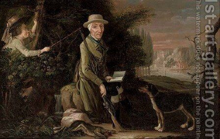 A break from a shoot, a disruption from reading by Dutch School - Reproduction Oil Painting
