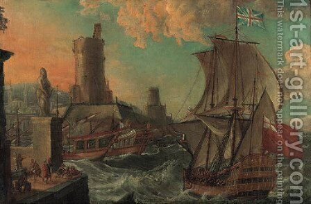 A British Man-of-War entering a Harbor in stormy Seas by Dutch School - Reproduction Oil Painting