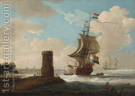 A coastal landscape with a tower and Dutch warships, a town beyond by Dutch School - Reproduction Oil Painting